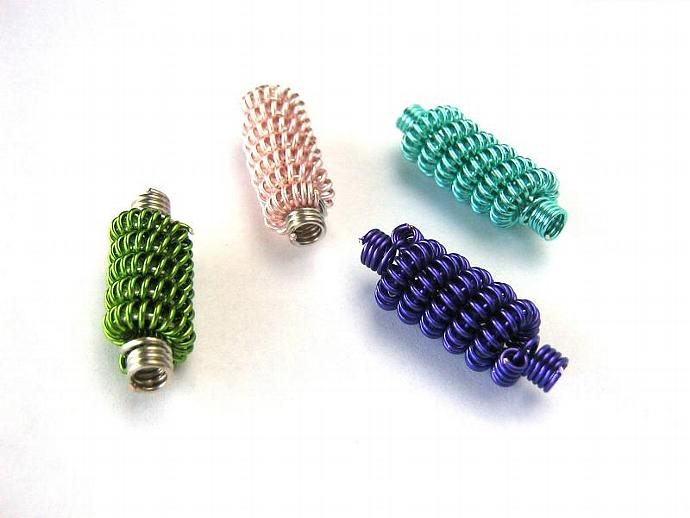 Coiled wire beads teal