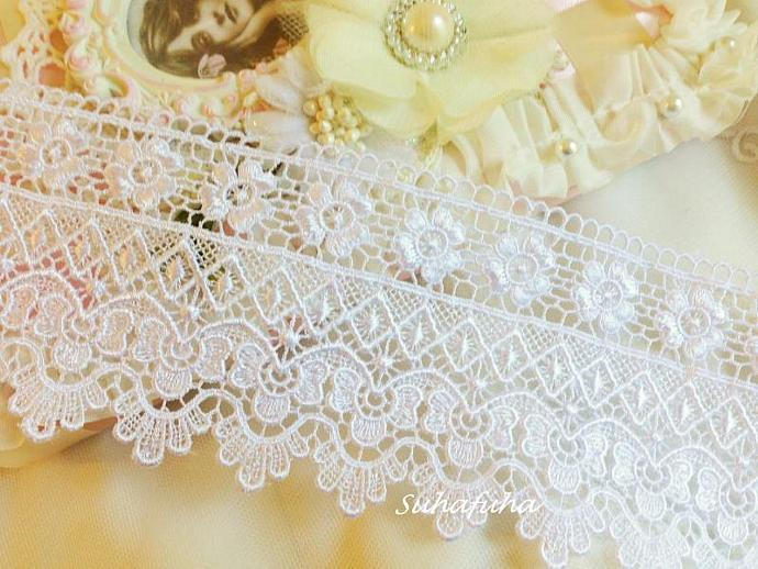"Victorian WHITE Venise Lace Trim 3.25 "" wide"