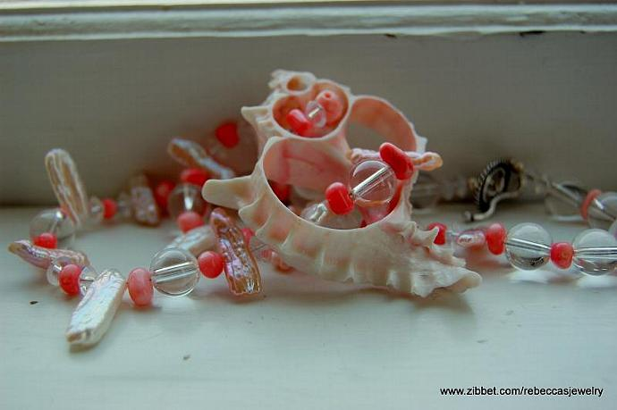 Sea Shell Dreams ~ Fresh Water Stick Pearls, Pink Coral, Glass Beads, Sea Shell