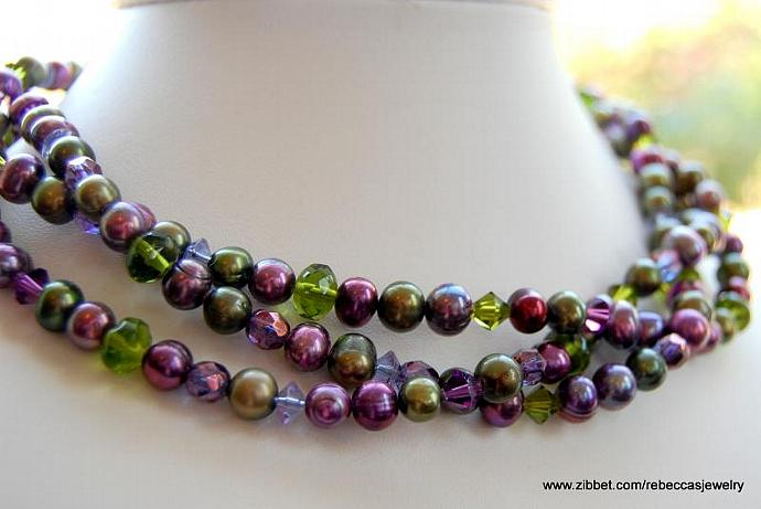 Royal Beauty ~ 3 Strands of Fresh Water Pearls & Crystals in Purples & Greens