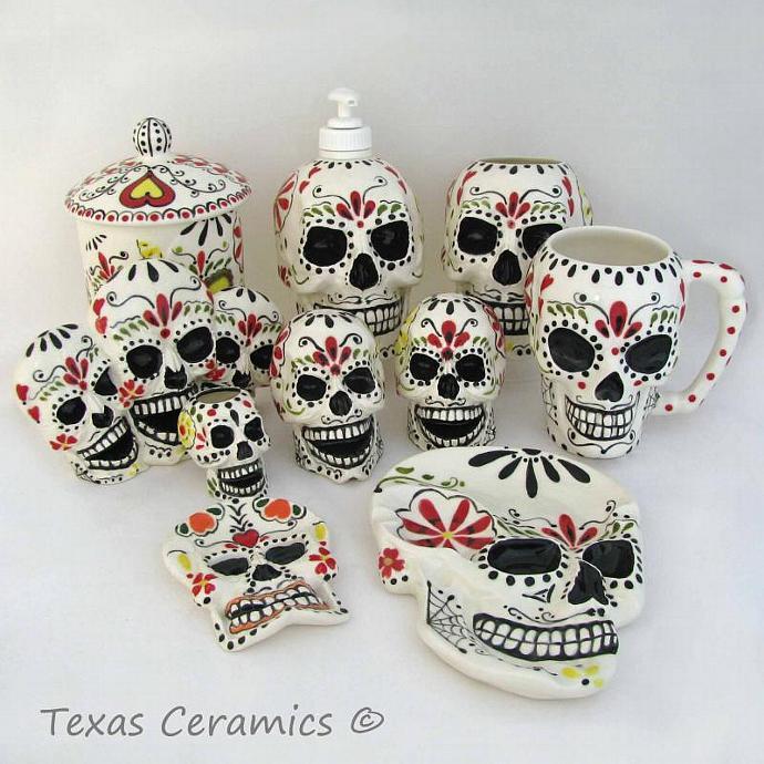 Charmant Sugar Skull Bathroom Decor. Sugar Skull Mug Day Of The Dead Mexican Folk  Art Design Hand Painted And Hand.