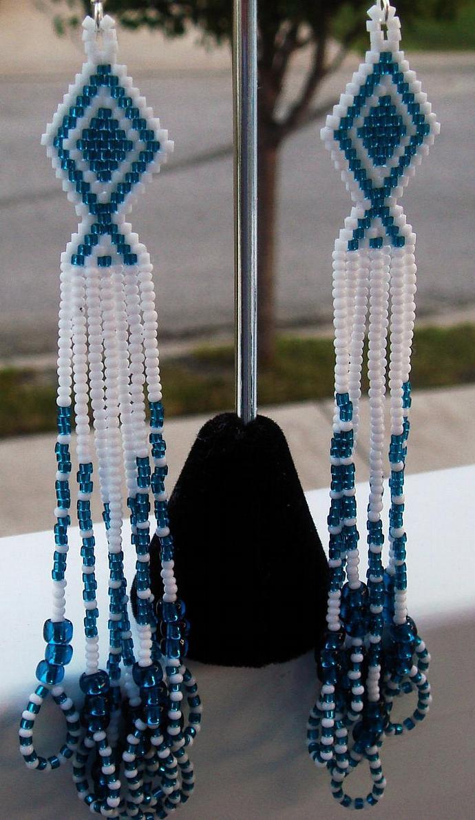 Blue Zircon & White Dangle Earrings
