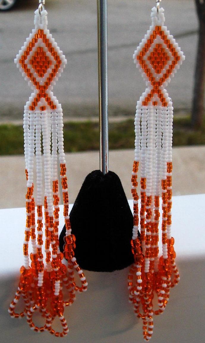 Orange & White Dangle Earrings