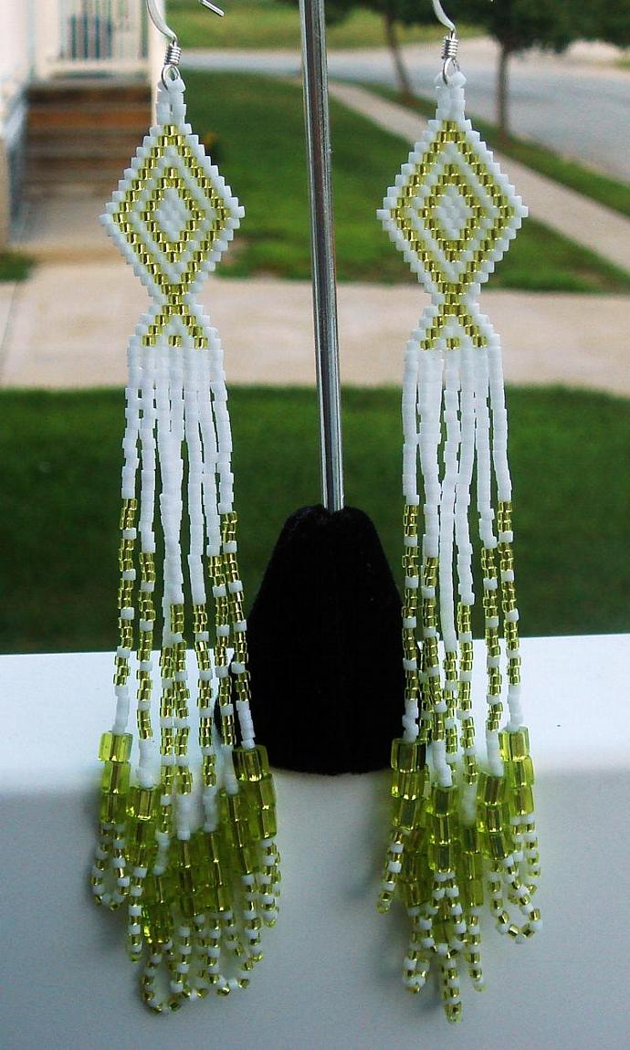 Chartreuse & White Dangle Earrings