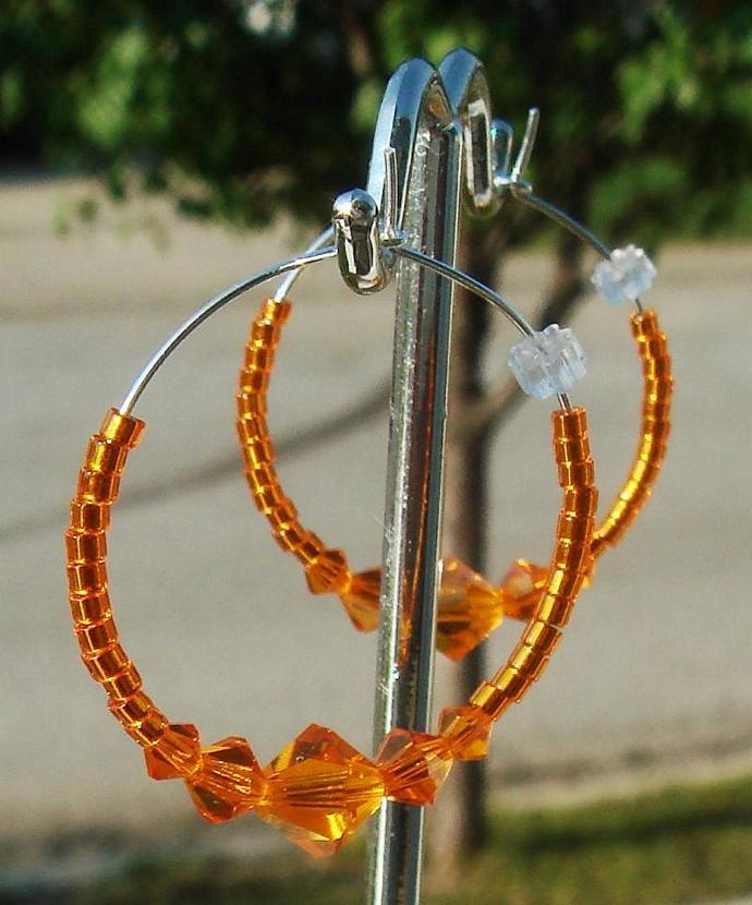 Sun Crystal Hoop Earrings