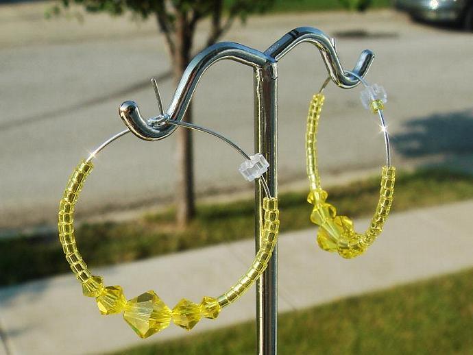 Citrine Crystal Hoop Earrings