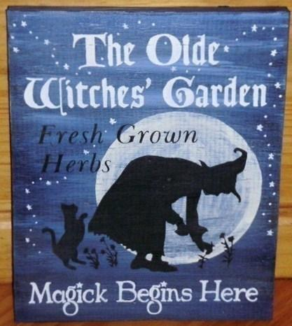 Primitive Witch Sign Olde Witches Garden Witch Signs Primitives Folk Art