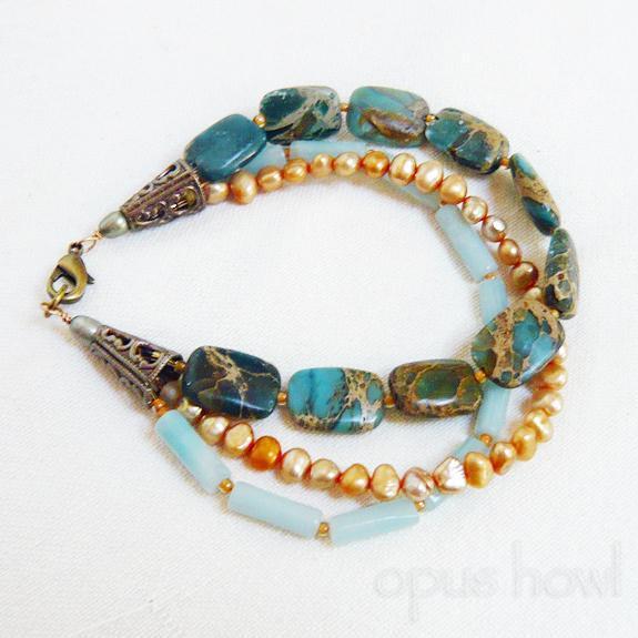 Jasper Amazonite Pearl bracelet