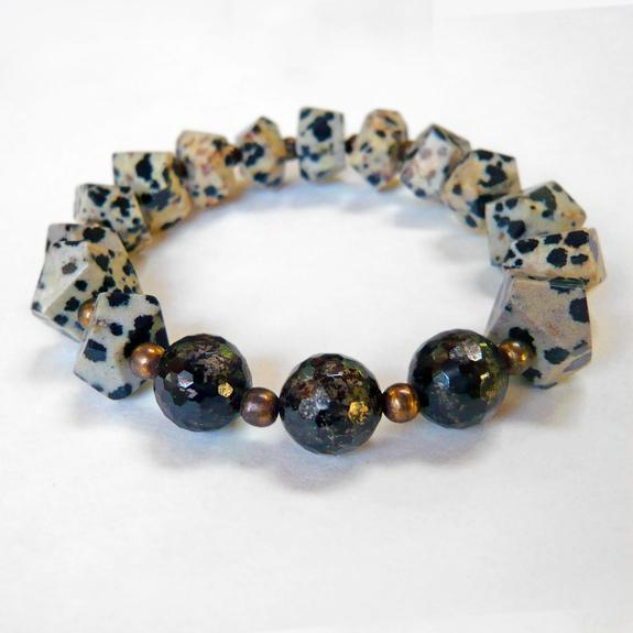 Dalmation Jasper stretch bracelet