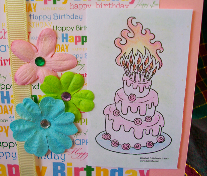 Pink happy birthday cake card