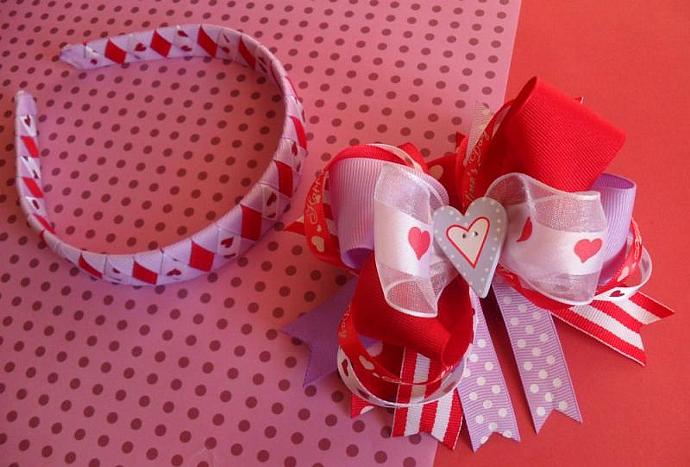 Queen of Hearts Valentine Hair Bow & Headband