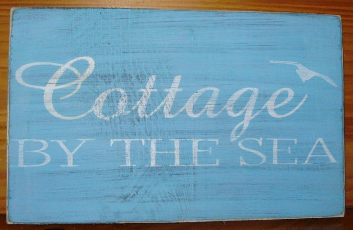 Beach House Cottage by the Sea sign shabby primitive summer blue seagulls