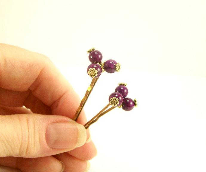 Beaded Hair Pins, Plum Stones Gold Pewter Casual Work Rustic Bridal