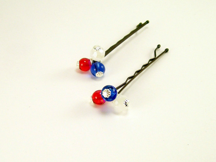 Patriotic Beaded Hair Pins, Patriotic Accessories, Red White Blue Silver Casual