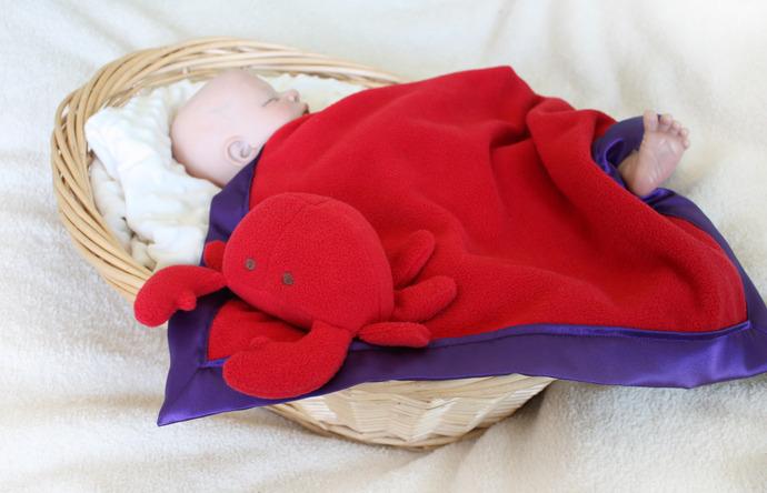 Crab Security Blanket, Lovey Blanket, Satin, Baby Blanket, Stuffed Animal, Baby