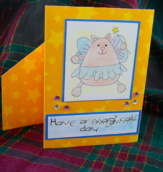 Magical fairy cat card