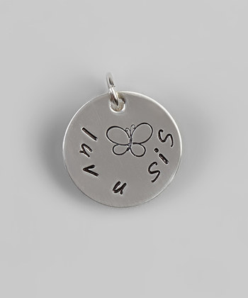 """""""luv u sis"""" 5/8"""" Sterling Silver Pendant - Hand Stamped Jewelry, Personalized"""