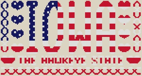 Iowa the hawkeye state cross stitch astitchandaprayer