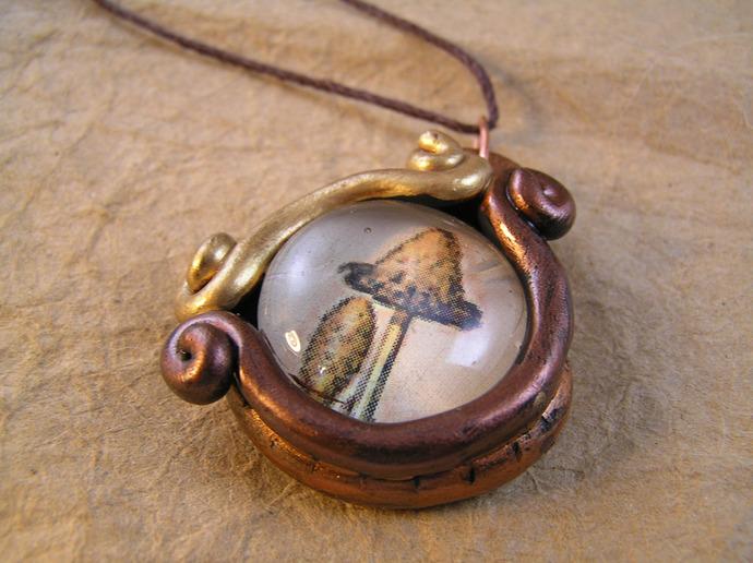 Mushroom victorian illustration pendant in gold, brass, and copper
