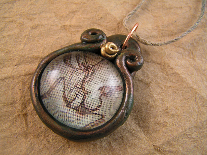 Archeopteryx fossil pendant in gold and copper