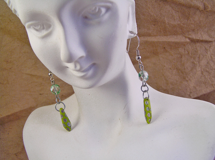 Lime green Czech glass earrings with fire polished beads