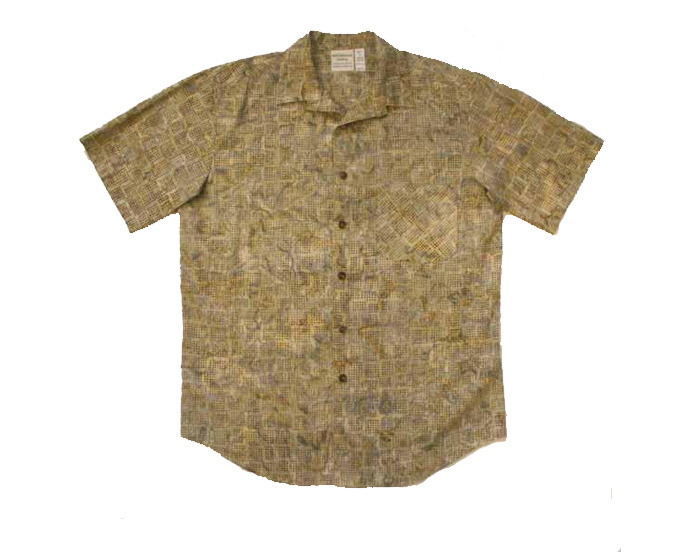 Tan / Gray Cotton Batik Aloha Shirt - Size M/XL
