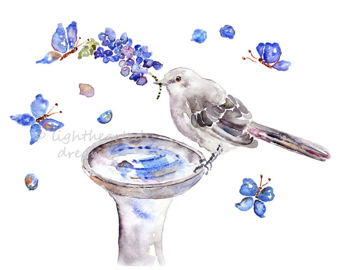Bird Watercolor Art Print, Bird Art, Watercolor Animal, Bathroom Wall Art,
