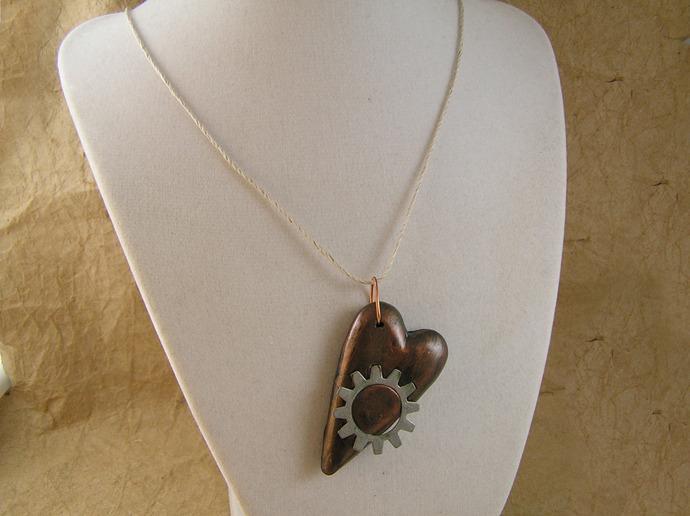 Steampunk gear heart pendant