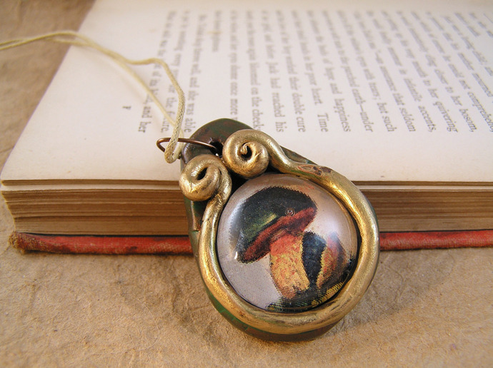 Fat mushroom victorian illustration pendant in verdigris copper and gold