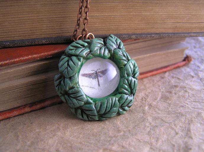 Victorian illustration Dragonfly leaf pendant