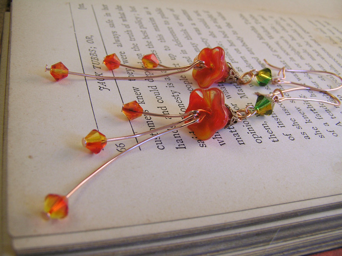 Orange Czech glass bellflower and fire polished bead earrings