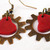 Steampunk gears and heart charm earrings in red and copper