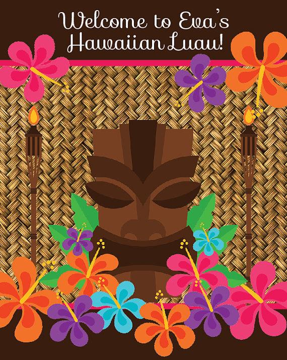 Hawaiian Luau Birthday Party Welcome Sign - 8x10 Welcome Sign - Printable Luau