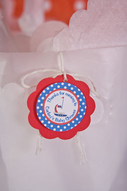 Baby Shower Banner -  ITS A BOY Sign - Sailboat Blue and Red Theme Party