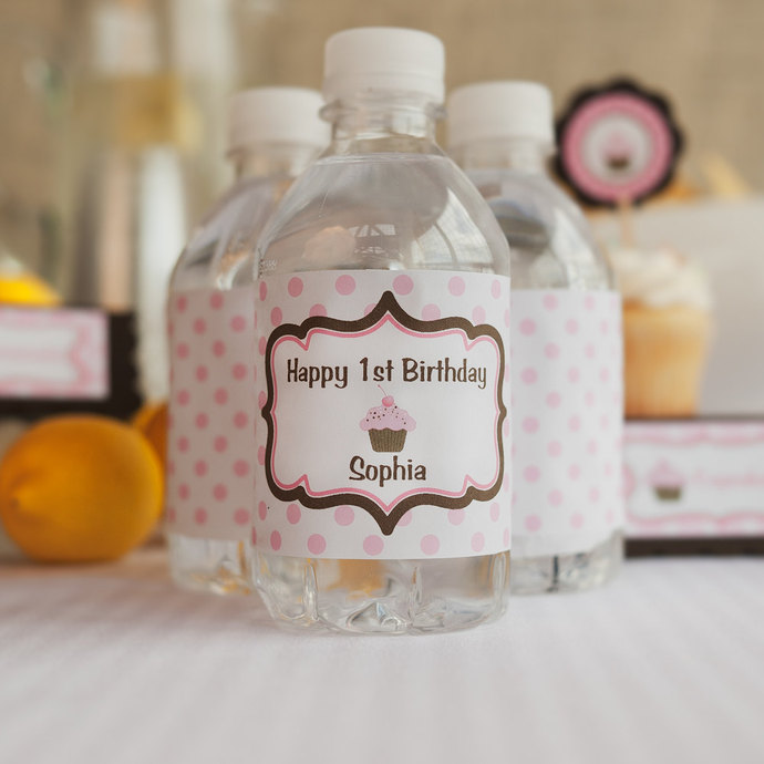 Cupcake Happy Birthday Party Favor Tags. Cupcake Birthday Party Decorations in