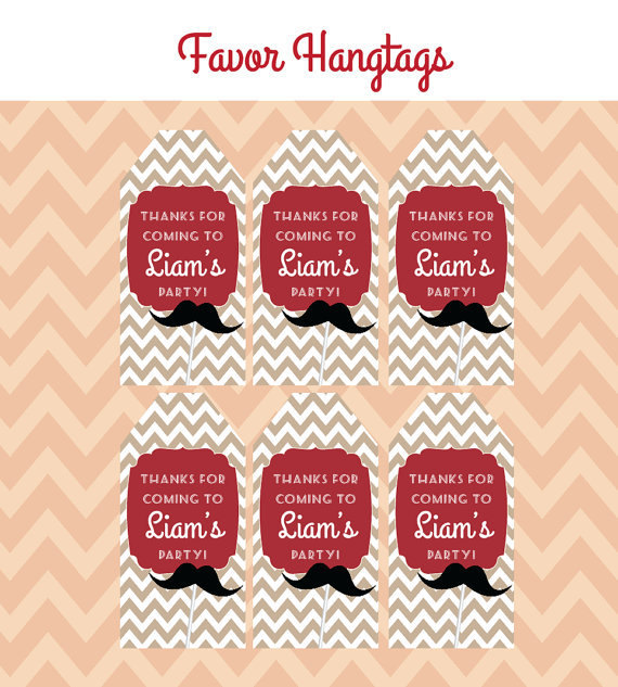 Mustache Bash Birthday Party - FAVOR TAGS - Printable Little Man Party