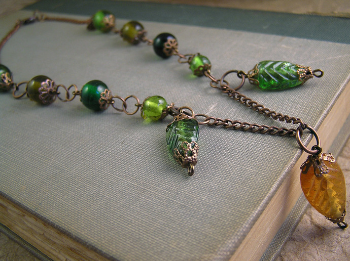 Glass Leaf bead Necklace with copper chain