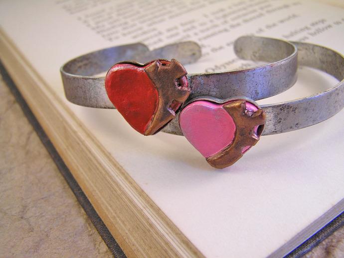 Pink Steampunk Cuff gear heart bracelet