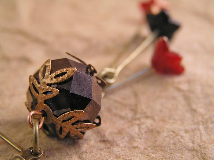 Bronzed woodland flower bead earrings