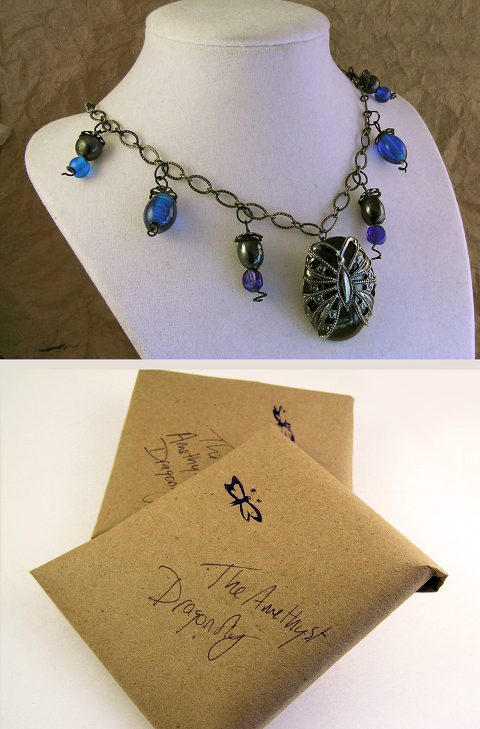Black agate Butterfly Necklace. Filigree butterfly. Blue Glass beads. Vintage