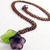 Purple glass Flower necklace on copper chain