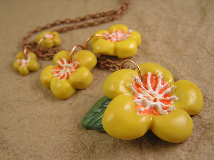 Yellow Flower necklace with handmade spring dasiy beads on copper chain