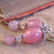 Pink glass earrings with Tibetan silver daisy spacers and leverback earwires