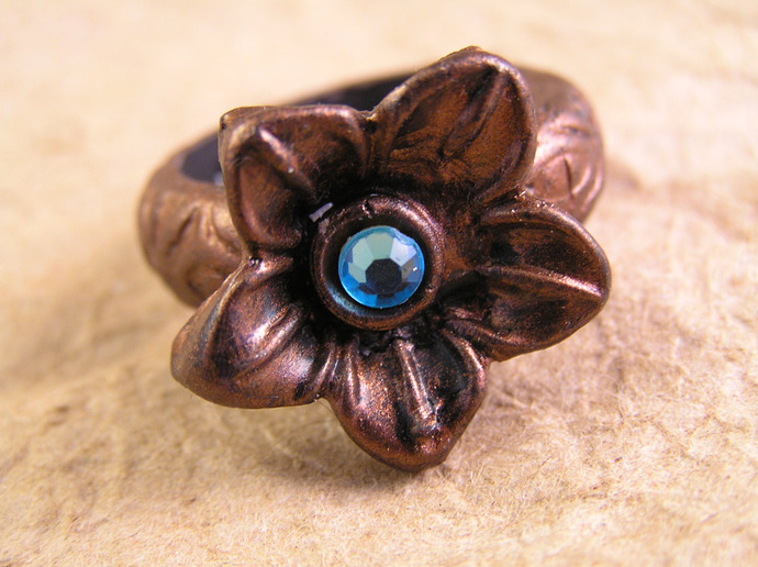 Spring blossom thumb ring with custom gem and color choices