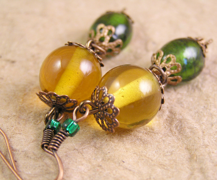 Yellow and Green glass earring dangles with copper details