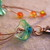 Orange and green flower earrings with Czech glass and fire polished beads