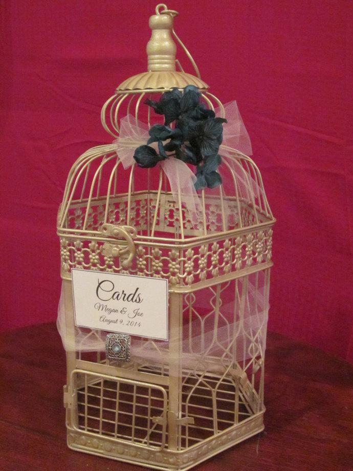 Champagne Birdcage Card Box With – Birdcage Wedding Card Box