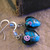 Teal blue heart lampwork glass earrings with roses
