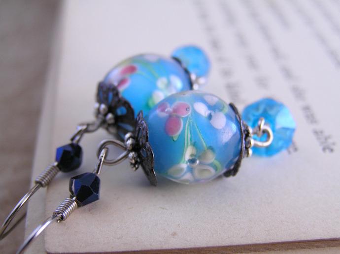 Lampwork glass blue and rose flower bead earrings