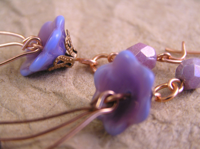 Purple bellflower earrings with fire polished and Czech glass beads